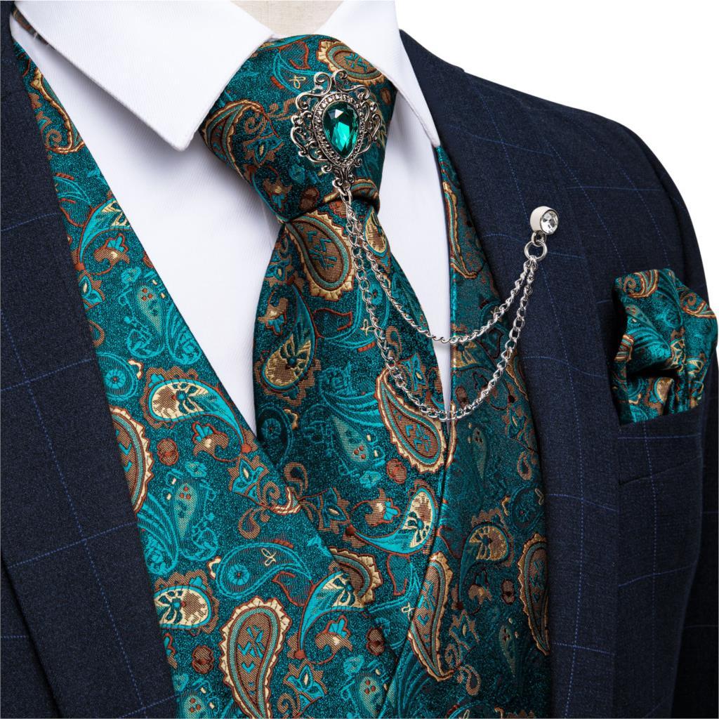 Nuevo verde azulado Paisley 100% vestido Formal de seda Chaleco de caballero Chaleco de fiesta de boda corbata broche Set de bolsillo a cuadros DiBanGu