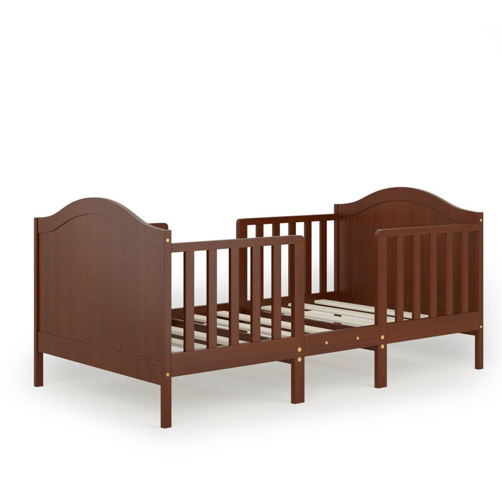 2-in-1 Convertible Toddler Bed Kids Wooden Bedroom Furniture w/ Guardrails HW65201
