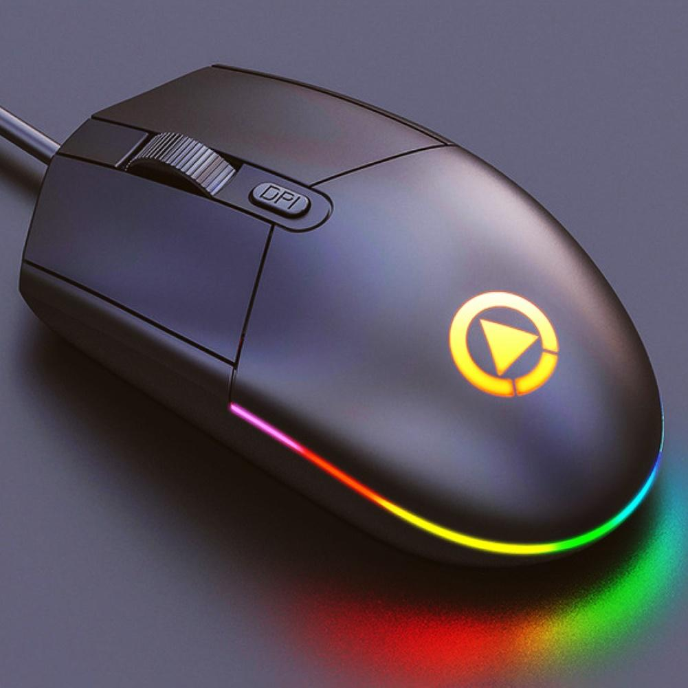 Ratón de juegos silencioso con cable USB DPI ajustable con LED de Color para ordenador portátil