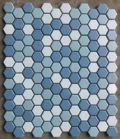 Promotion sky blue mix pure white hexagonal ceramic mosaic tile wallpaper for kitchen backsplash bathroom room deco