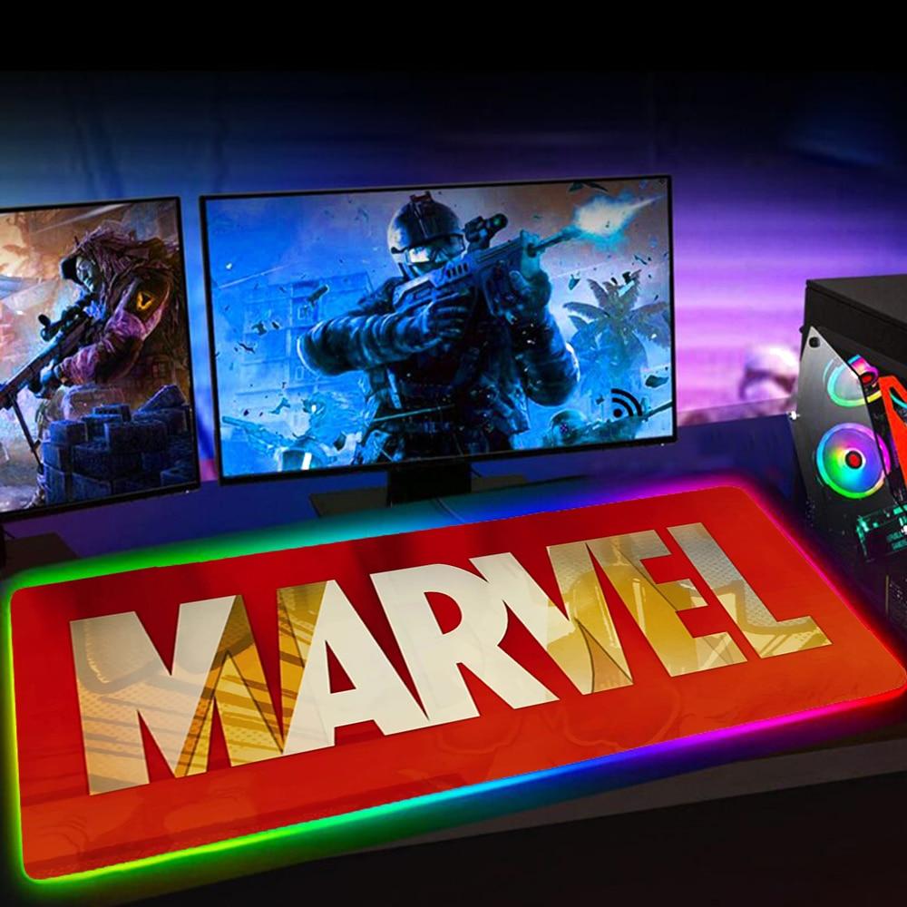 Большой игровой коврик для мыши RGB Marvell с логотипом, 25x5, коврик для мыши, коврик для клавиатуры, резиновый нескользящий коврик с подсветкой, к...