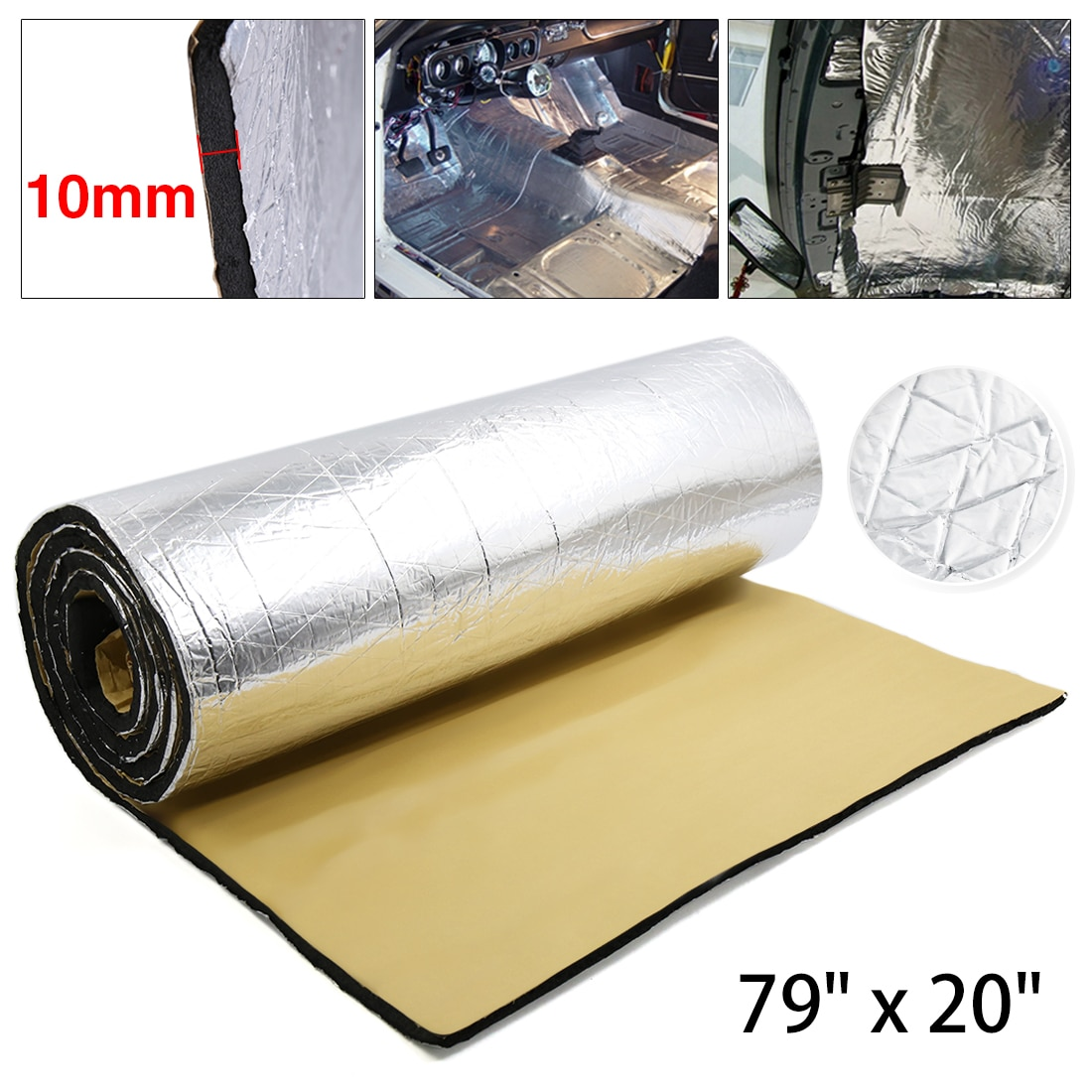 """X Autohaux 394mil 10.76sqft Car Roof Firewall Heat Sound Deadener Insulation Mat 79"""" x 20"""""""