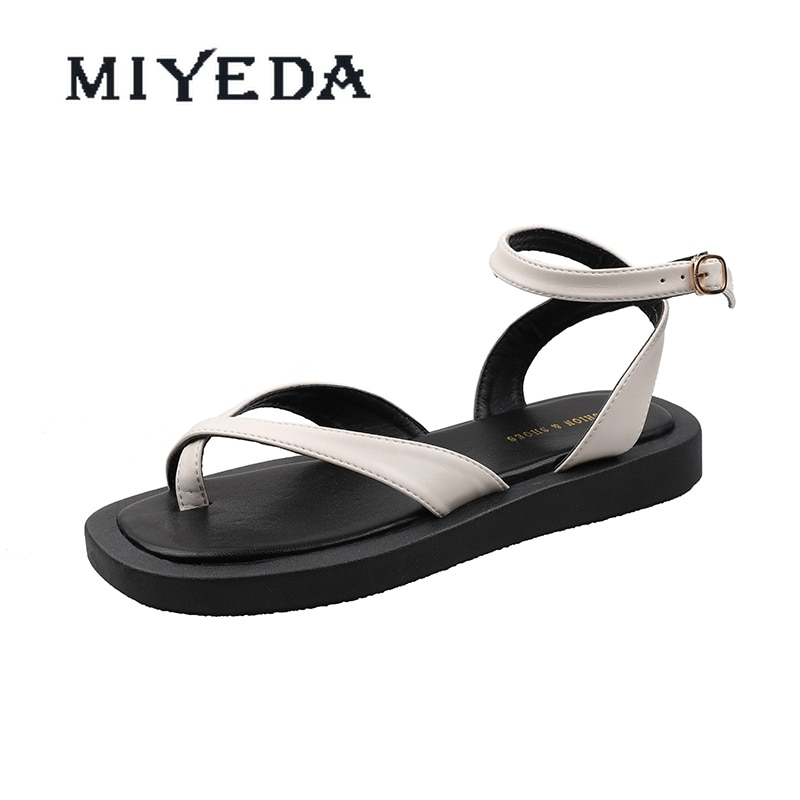 MIYEDA Women Comfortable Sandals Female Light Ankle Strap Summer Women's Flats Casual Beach Cool Punk Style Lady Shoes