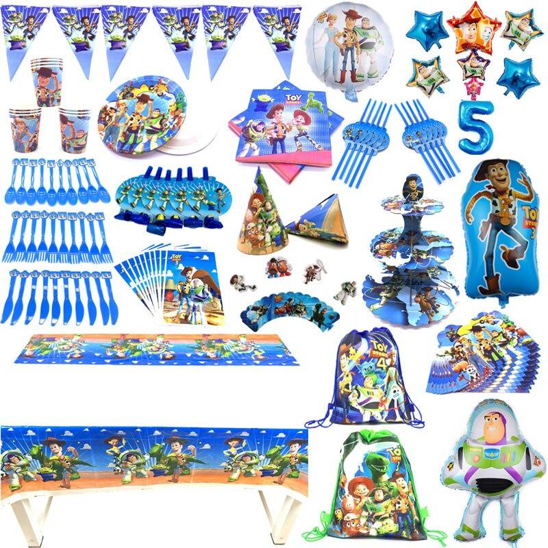 Brinquedo story4 tema de aniversário suprimentos conjunto copos de festa pratos talheres palhas de papel toalha de mesa guardanapos de festa de aniversário bandeira decorar
