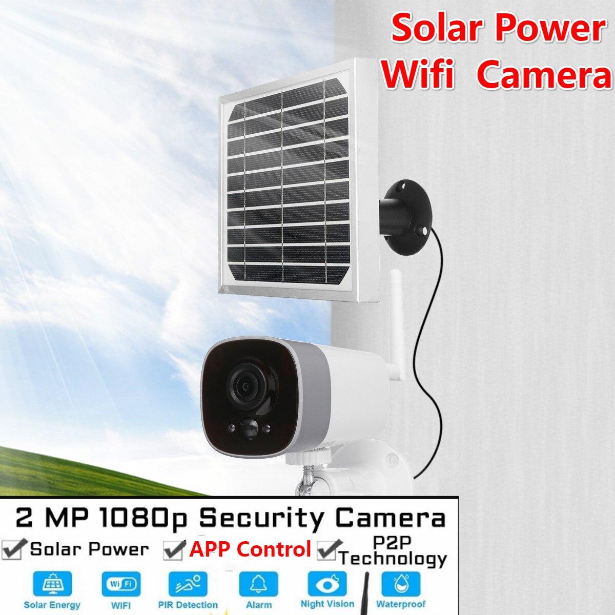 1080P cámara de energía Solar 2MP inalámbrica Wi-fi vigilancia de seguridad impermeable Cámara al aire libre IR visión nocturna energía Solar HD Camer