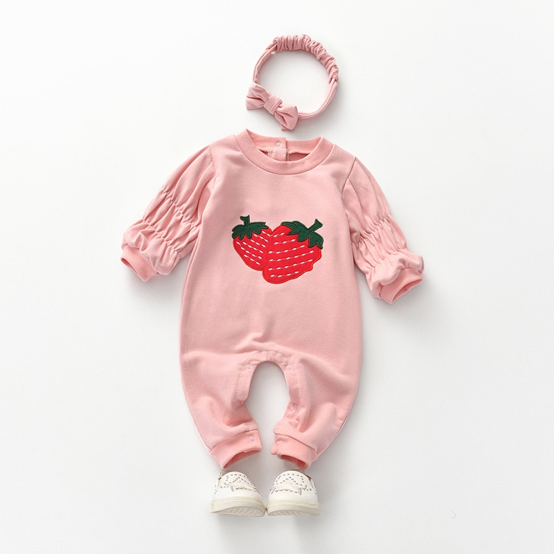 Yg Brand Children's Clothing, Spring And Autumn New Strawberry Pattern Embroidered Cotton Baby Cloth