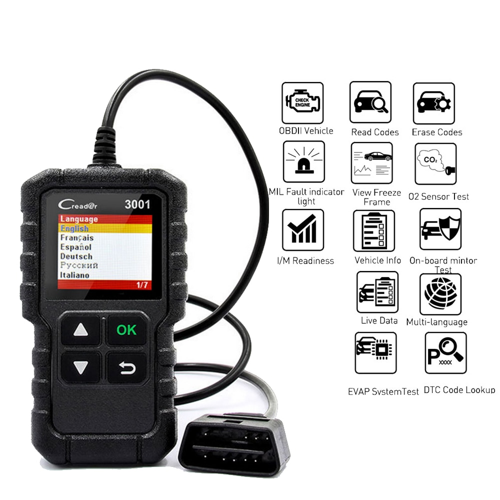 x431 creader 3001 full obd2 obdii code reader scan tools cr3001 obdii car diagnostic tool pk ad310 elm327 om123 scanner Universal X431 Creader 3001 Full OBDII/EOBD Code Reader Scanner Multilingual CR3001 Car Detection Diagnostic Tool PK ELM 327