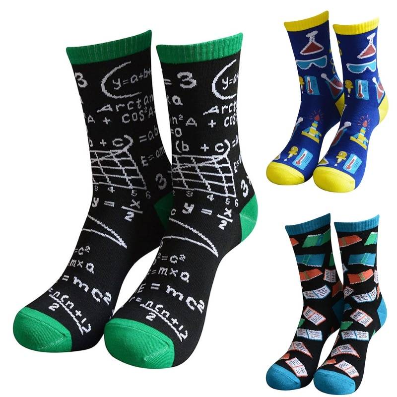 Novelty Funny Saying Crew Socks Colorful Books Science Math Letters Hosiery Gift 6XDA