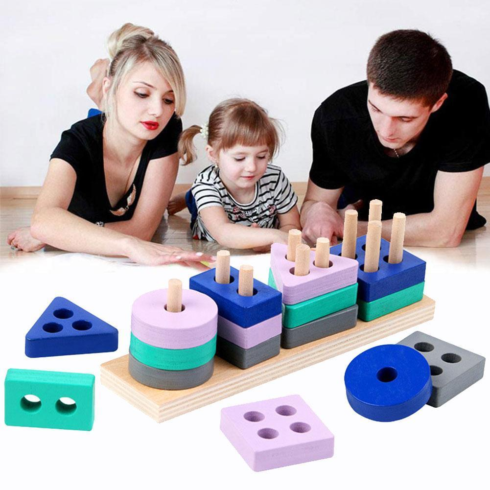 Children Cognitive Building Blocks Wooden Montessori Shape Match Toys Early Learning Educational Puzzle Toys Child Gift classic rainbow calculates circle wooden child wooden building blocks toys children wood education learning mathematics toys