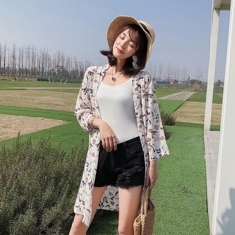 Blusa Floral de Kimino para mujer de verano, chaqueta con protección solar de gasa de longitud media, camisa holgada de estilo coreano, ropa