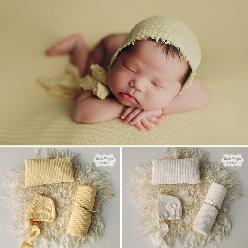3 Pc/Set Newborn Photography Props Soft Blanket Wraps Cloth and Photo Hat For Baby Boy Girl Posing Pillow Prop Shoot Accessories
