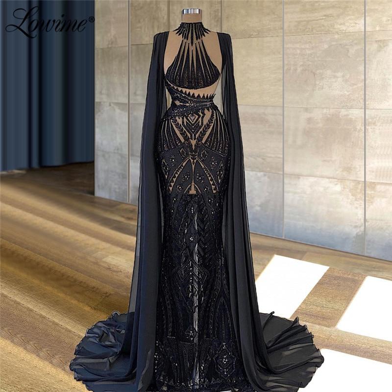 Lowime-فستان سهرة دانتيل شفاف ، أكمام طويلة مغطاة ، تصميم دبي ، مطرز يدويًا ، ثوب كرة عربي