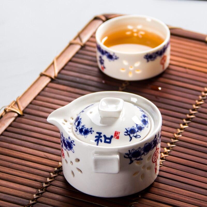 طقم شاي سيراميك ، إبريق شاي ، زهرة زرقاء ، إبريق شاي ، كوب شاي ، محمول ، للسفر في الهواء الطلق ، مكتب ، أواني شاي Puer ، غلاية مياه سوداء