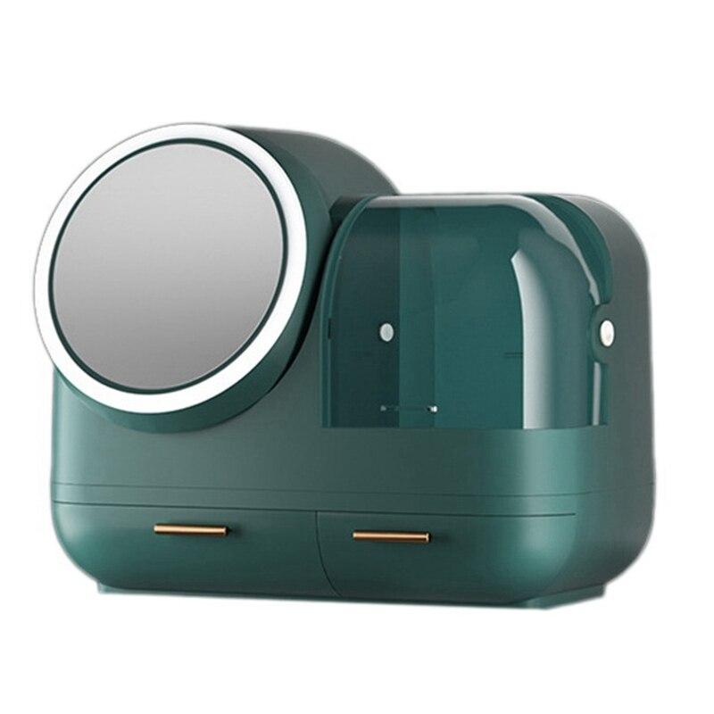 ماكياج المنظم منظم مستحضرات التجميل صندوق مع Led مرآة ومروحة ، مخزن للمكياج صندوق مرآة المكياج المزودة بمصباح ليد