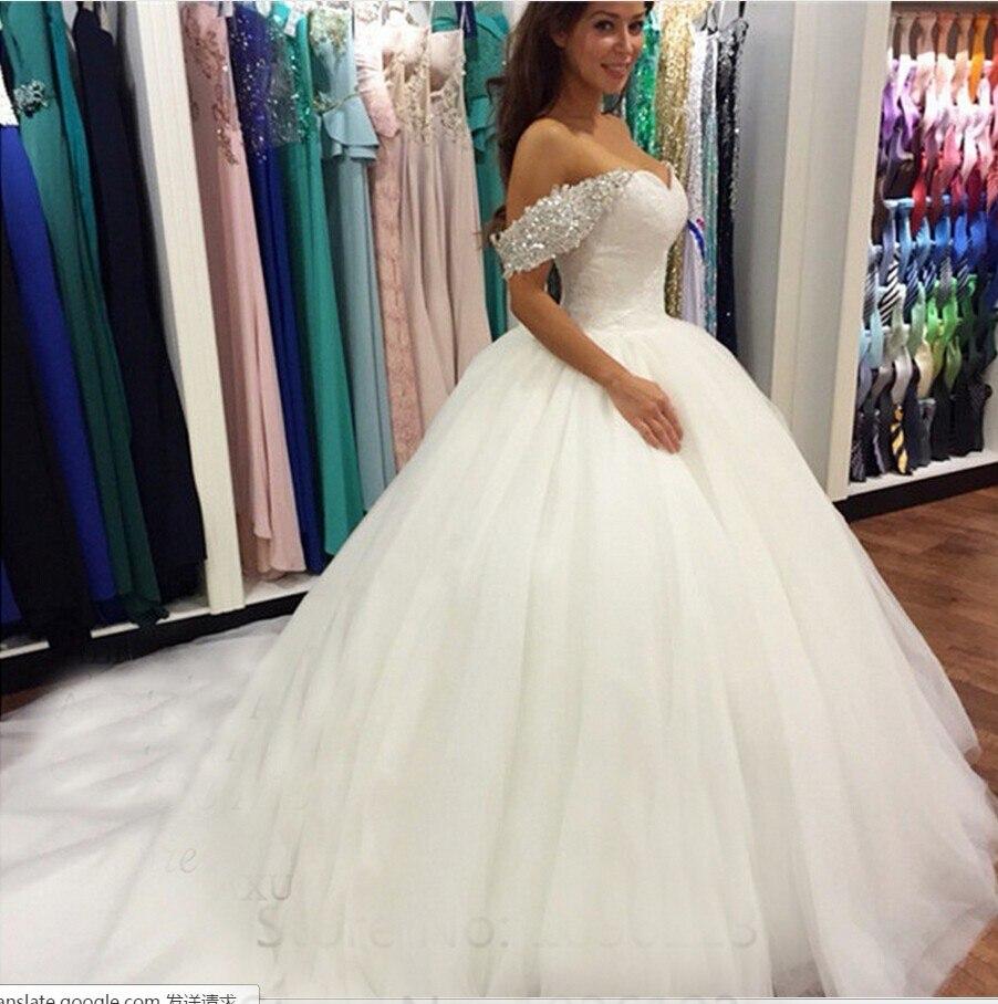 Vestido de novia de lujo con cuentas de cristal, escote con forma...