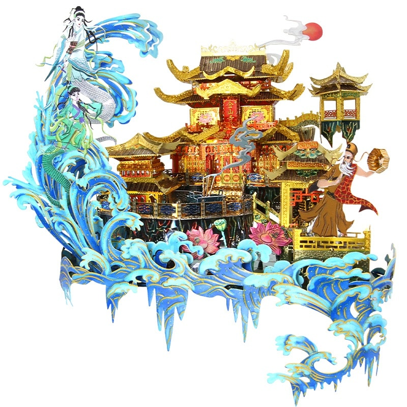 Picture Kingdom 3D Metal Puzzle The Flooding of Jinshan Temple model kits DIY laser cutting Jigsaw puzzle Toys for Children gift