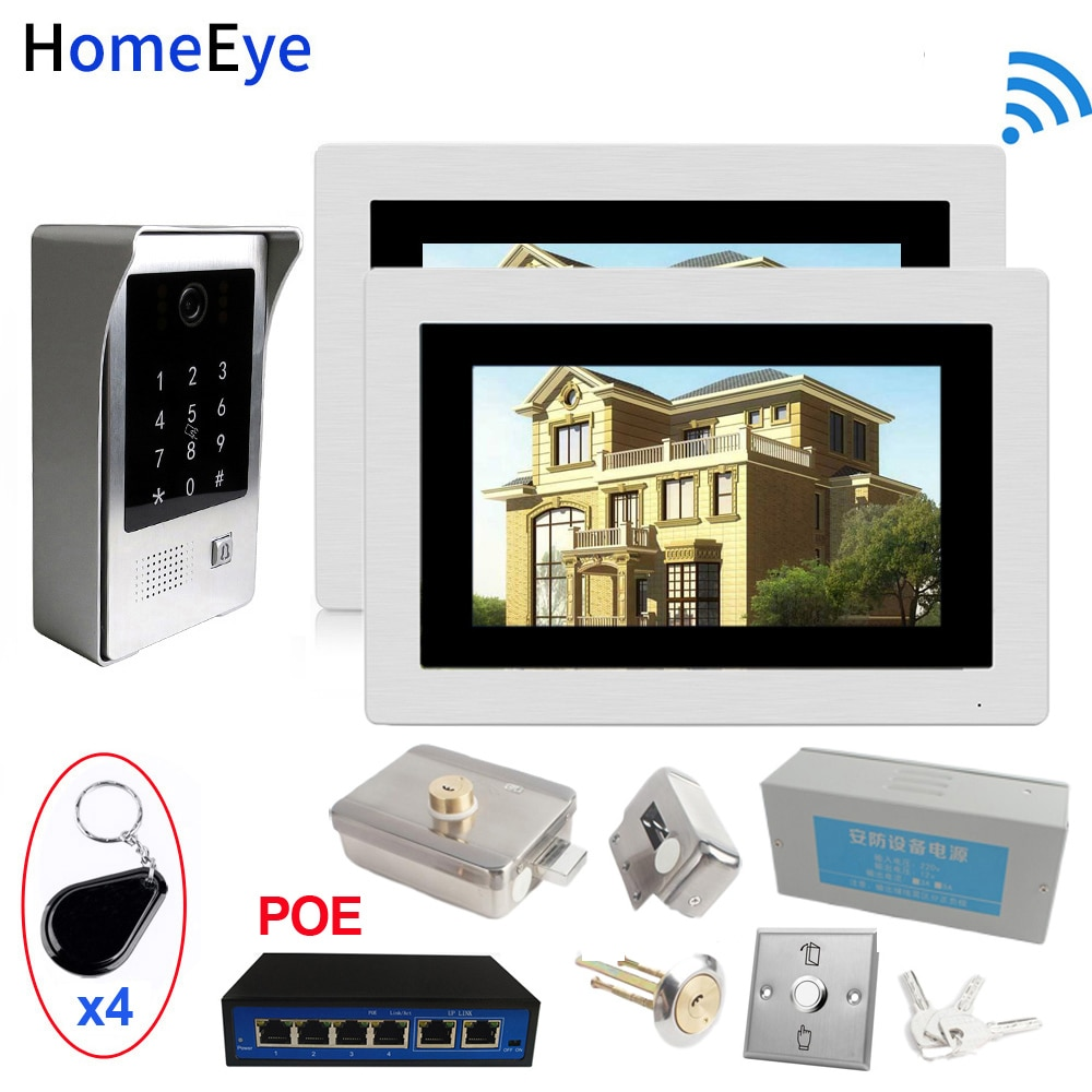 SIP Wifi Video Door Phone Video Doorbell Intercom Access Control System+Electronic Lock+Power Control Box+Open Switch+POE Switch