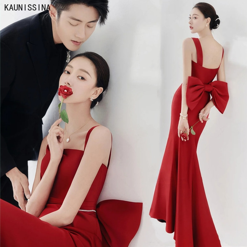 Promo KAUNISSINA Red Wedding Dresses Sleeveless Straps Elegant Wedding Gowns for Bride Mermaid Big Bow Marriage Dress Custom Made