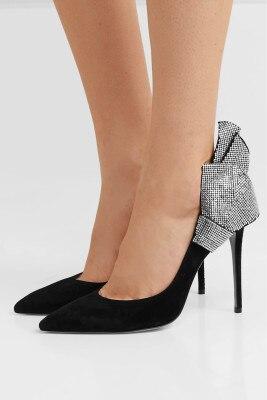 حذاء نسائي بكعب عالٍ بمقدمة مدببة ، حذاء زفاف أسود مرصع بأحجار الراين ماري جين