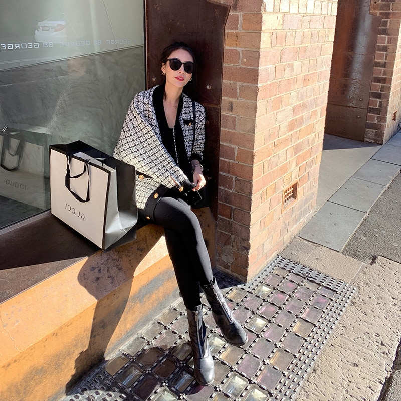 Autumn new classic houndstooth retro elegant houndstooth all-match knitted short coat women enlarge