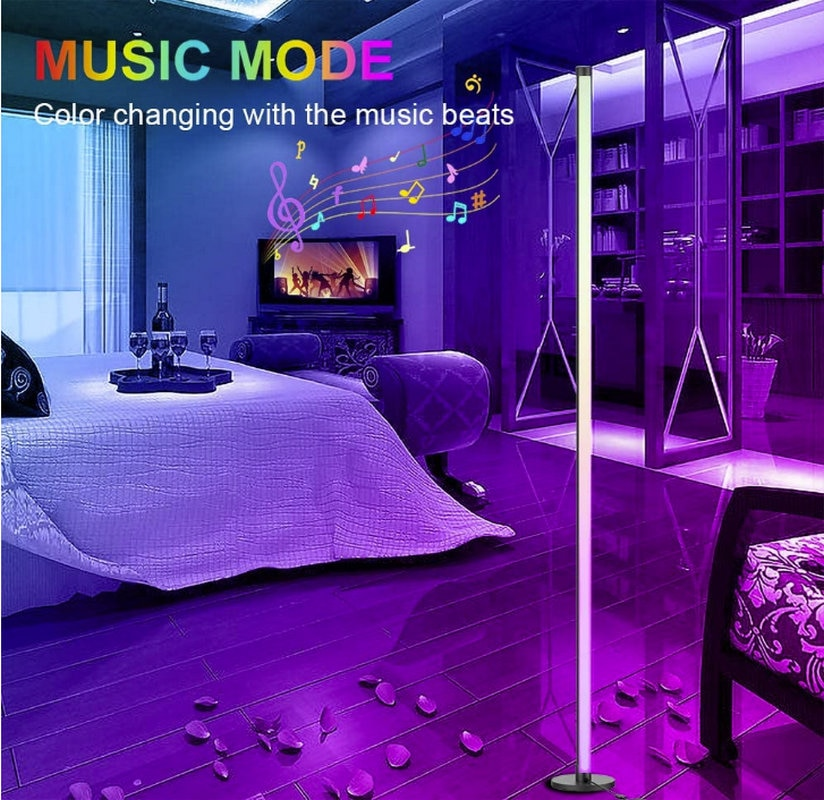 DIY RGBW Dimmable Corner Floor Lamp Color Changing LED Ambient Light With Music Remote Controller For Living Room Bedrooms Kids enlarge