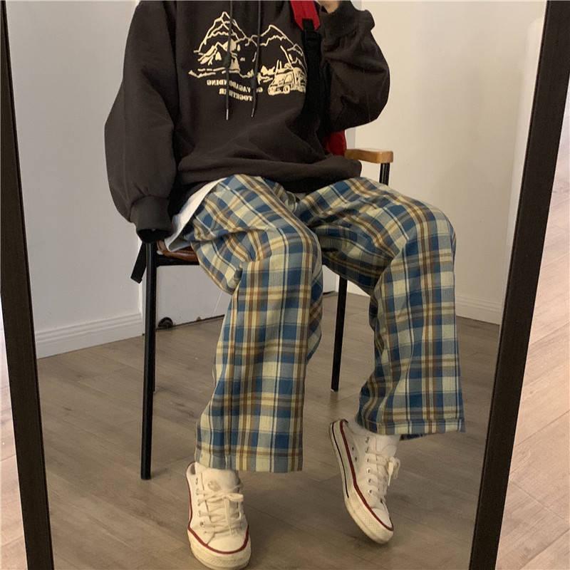 2021 Plaid Pants Women Spring Wide Leg Pants for Women Korean Style High Waist Checkered Pants Oversize Trousers Women Harajuku