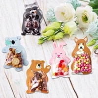 10pcs jungle animal candy bag birthday party decorations kids safari party plastic cookie bags for guests baby shower boy favors