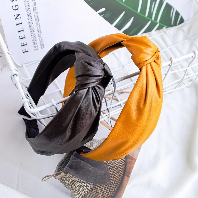 AliExpress - Fashion Womens Bow Knot Hairband Leather Hoop PU Cross Knot Women Head Hoop Glitter Girls Hair Headband Hair Accessories DSFG02