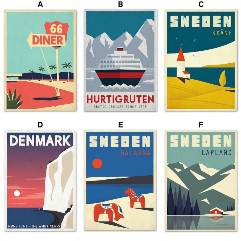 Скандинавская всемирно известная шведская Дания пейзаж для путешествий настенная Картина на холсте постеры печать HD печать настенные карт...