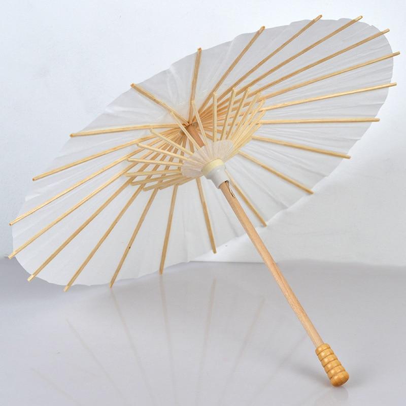 60 uds sombrillas de Boda nupcial sombrillas de papel blanco Mini paraguas artesanal chino diámetro 20,30, 40,60cm