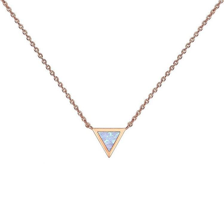 Collar de ópalo creado en triángulo chapado en oro, collares de ópalo para mujeres