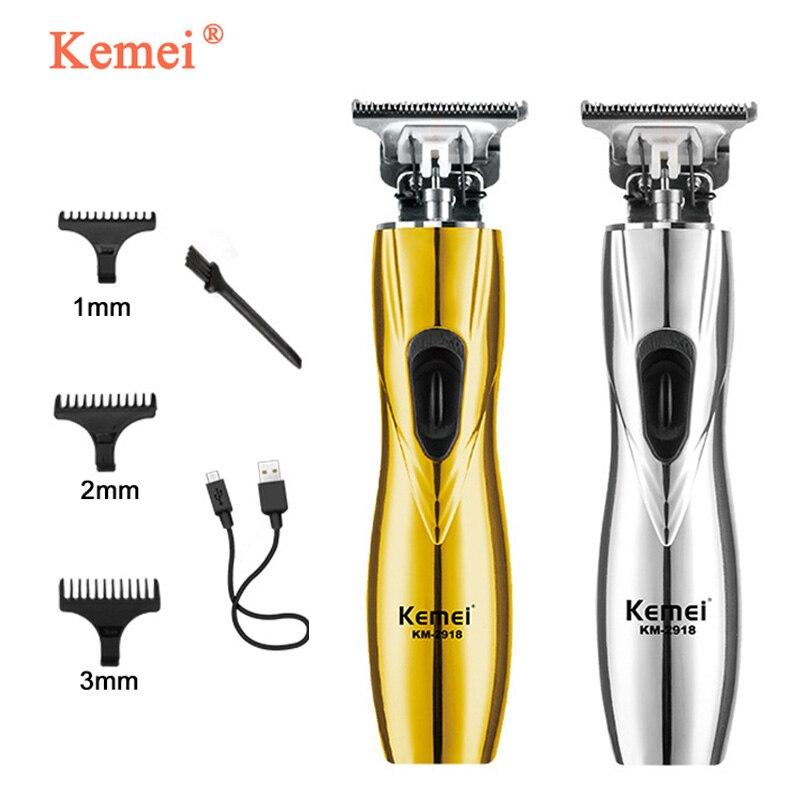 Kemei, nuevo cortador de pelo inalámbrico profesional, diseño hueco, cuchilla de acero al carbono, cortadora de pelo, cortadora de borde, máquina de corte de pelo