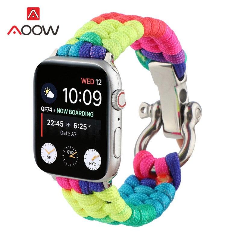 Correa tejida de nailon para Apple Watch 4, 5, 38mm, 42mm, 40mm, 44mm, correa de repuesto para reloj de pulsera, correa para iwatch 12 3