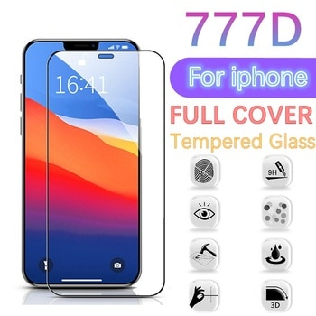 777D Screen Protector on the For iPhone 12 11 Pro MAX X XS Max XR  Full Cover Glass For iPhone 7 8 Plus SE 2020 Tempered Glass