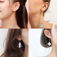 Boucles doreilles pendantes en marbre blanc pour femmes géométrique coréen or boucle doreille pendante mode 2020 bijoux pour femmes