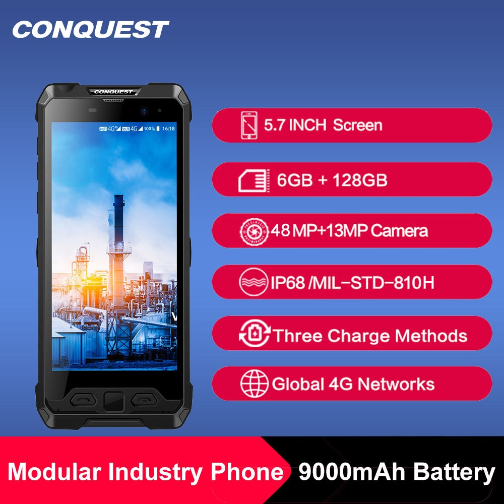 2021 Upgrade 48MP Camera CONQUEST S19 IP68 Waterproof Android Rugged Smartphone Mobile Phone Fingerprint Face ID Phone