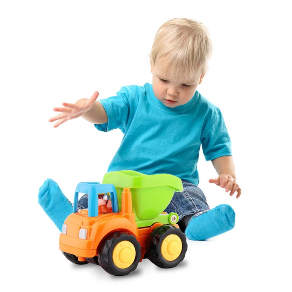 Набор игрушечных машинок с фрикционным двигателем, бульдозер, миксер, грузовик и самосвал, тяговые автомобили, фрикционные машинки