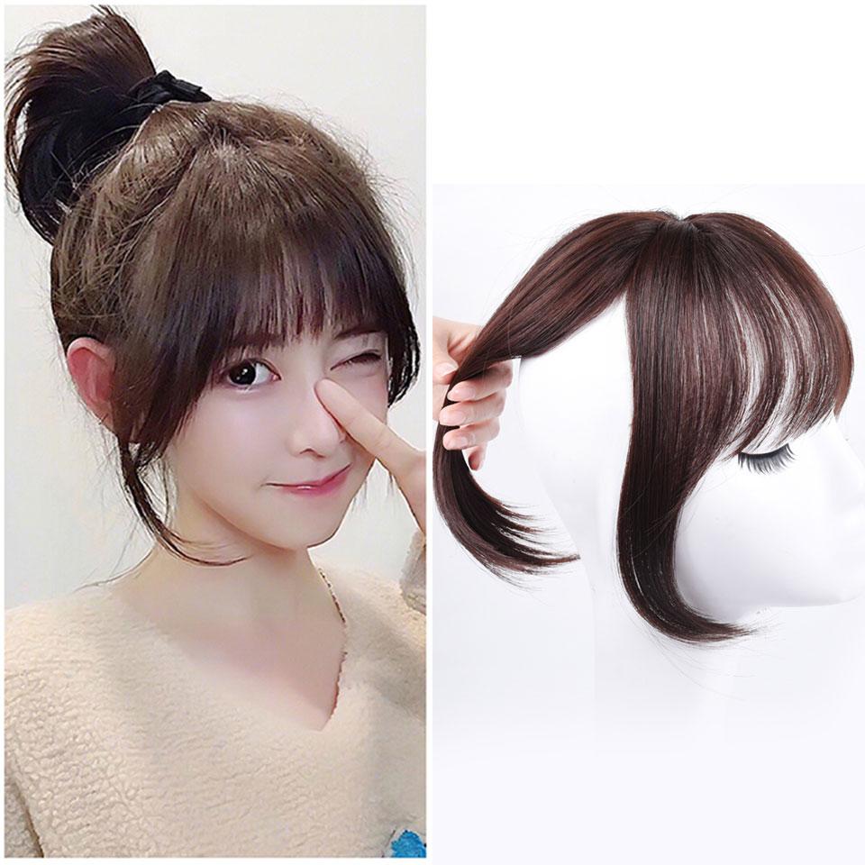 Extensiones de Cabello sintético XUANGUANG, flequillo de pelo artificial con clip en peluca, tupé, flequillo recto para mujer
