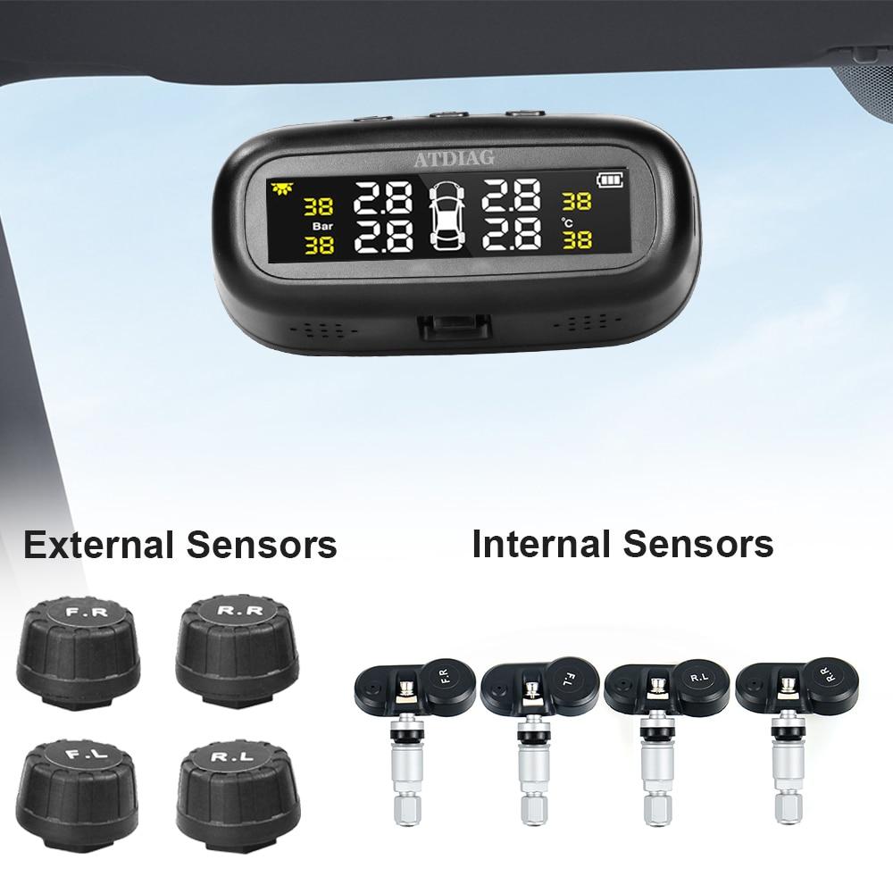 New Solar TPMS Car Tire Pressure Alarm Monitor System 4 Wheel Internal External Tyre Sensor Temperat