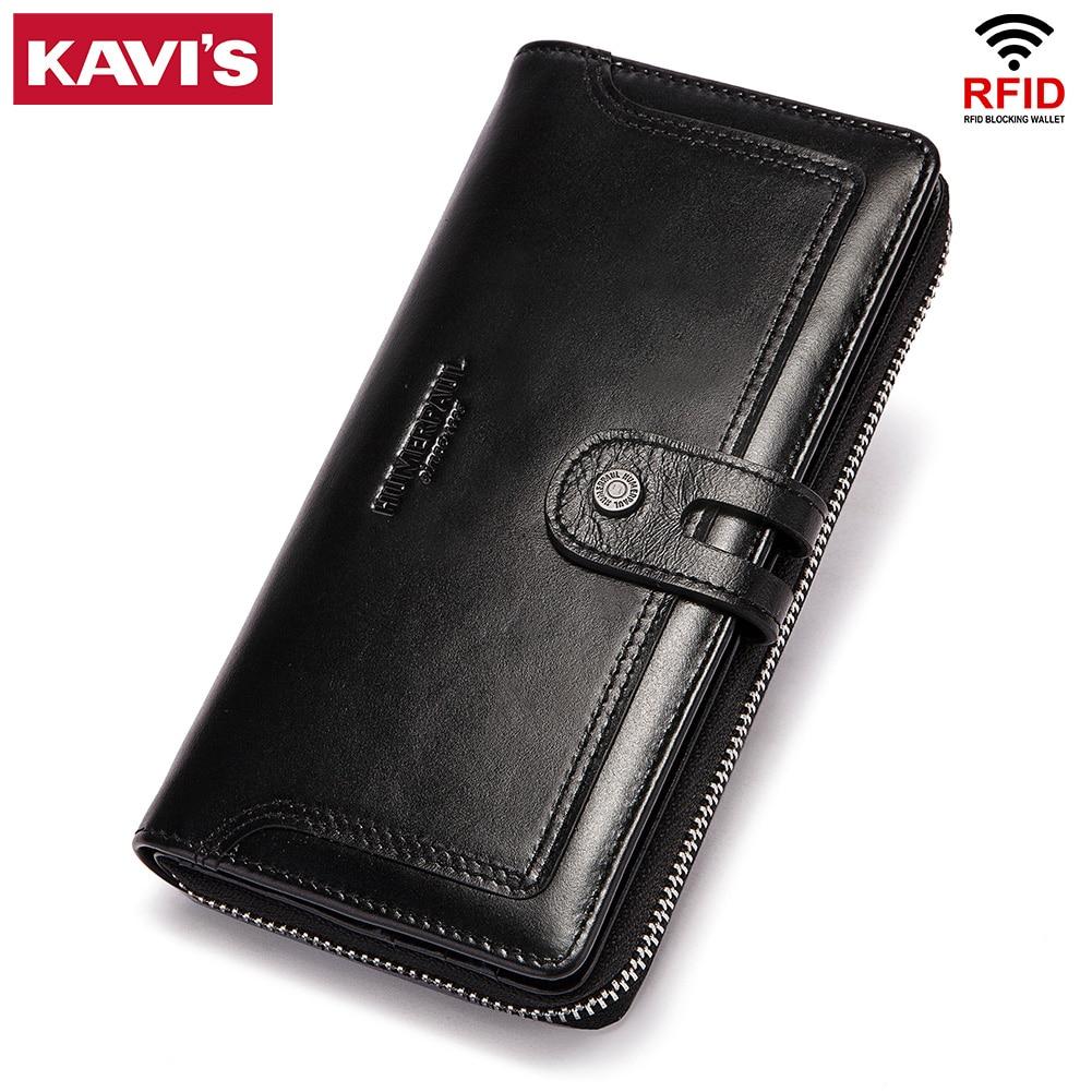 KAVIS Genuine Leather Men Women Wallets Fashion Long Handy Perse Card Holder Classic Female Purse Zi