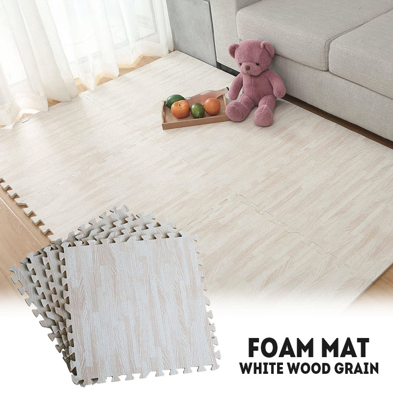 20pcs Imitation Wood Floor Floor Mat Kids Play Mat Modernization Comfortable Soft 30X30cm White Home Decoration Playing Game