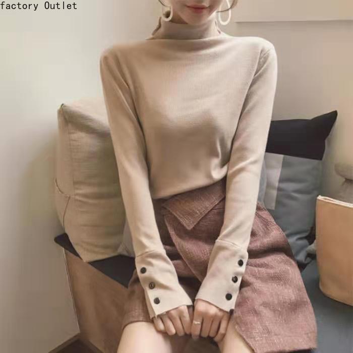 Outono/inverno 2020 nova camisola de gola alta pullovers feminino selvagem magro ajuste pilha gola malha bottoms