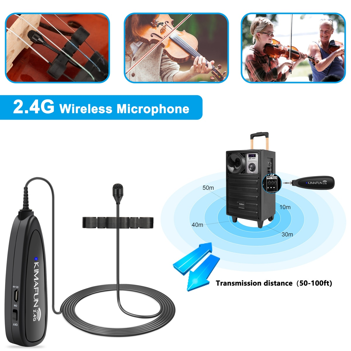 KIMAFUN 2.4G Mini Wireless Violin Microphone Professional Musical Instrument Condenser Microphone System for Stage Performance enlarge