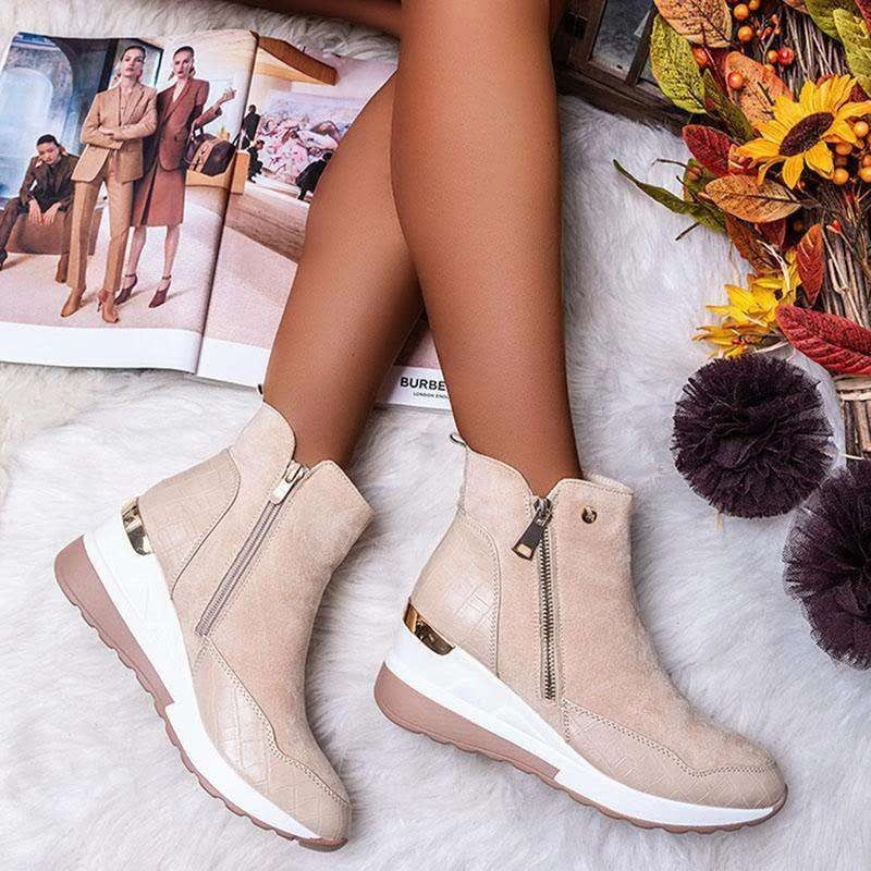 Winter New Women's Casual Flat Leather Fashion Boots Side Zipper Round Toe Shoes Boots Platform Shoes Women Chunky Sneakers fashion women men laser bling dad running sneakers female casual shoes male flat platform women sneakers round toe feminino