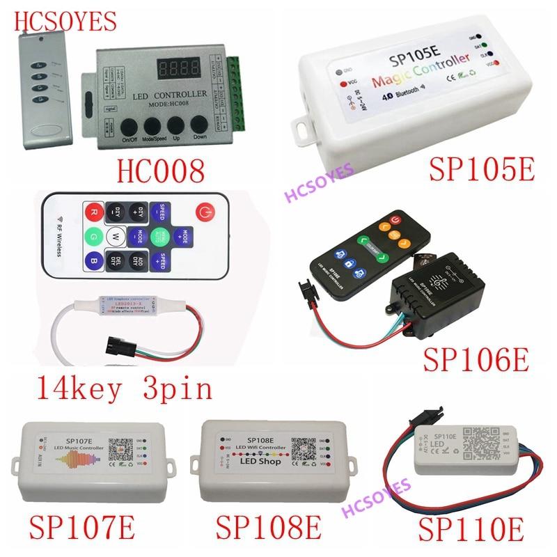 SP110E SP105E SP108E SP106E SP107E 14key 3pin HC008 Music Controller WS2812B Bluetooth SK6812 RGB/RGBW APA102 WS2811 led strip