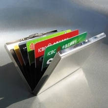 Men Stainless Steel Credit ID Card Mini Wallet Holder Pocket Case Box