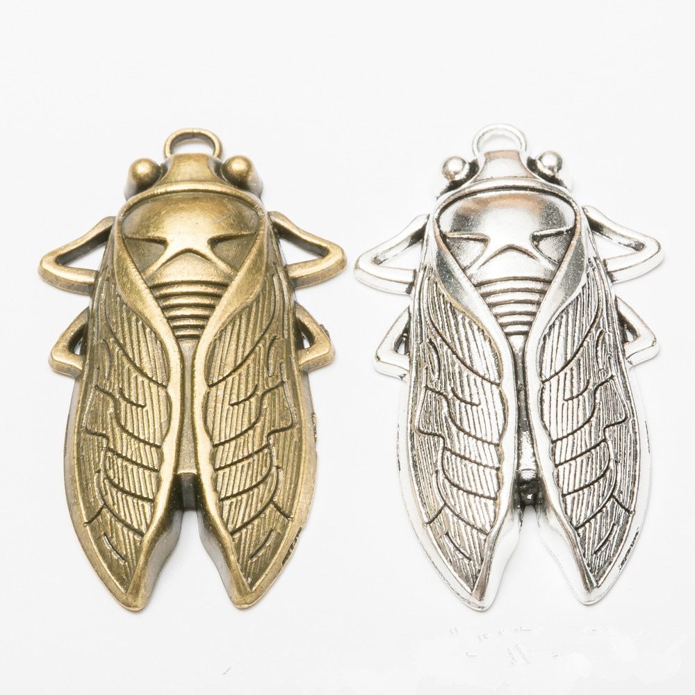 1 Vintage Creative Cicada Charms 61x34x8mm Metal Insect Pendant Necklace Accessories for Jewelry Making  - buy with discount