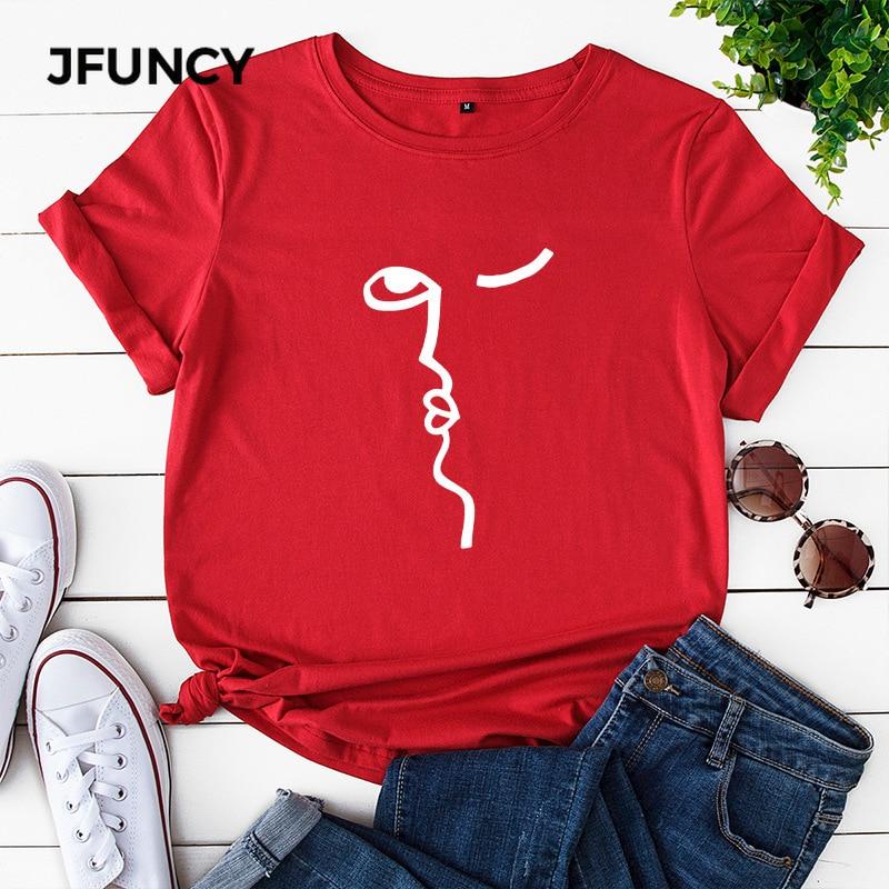 JFUNCY cara abstracta de impresión de talla grande suelta mujeres camisetas verano Casual algodón camiseta Unisex señora chica Harajuku gráfico camisetas