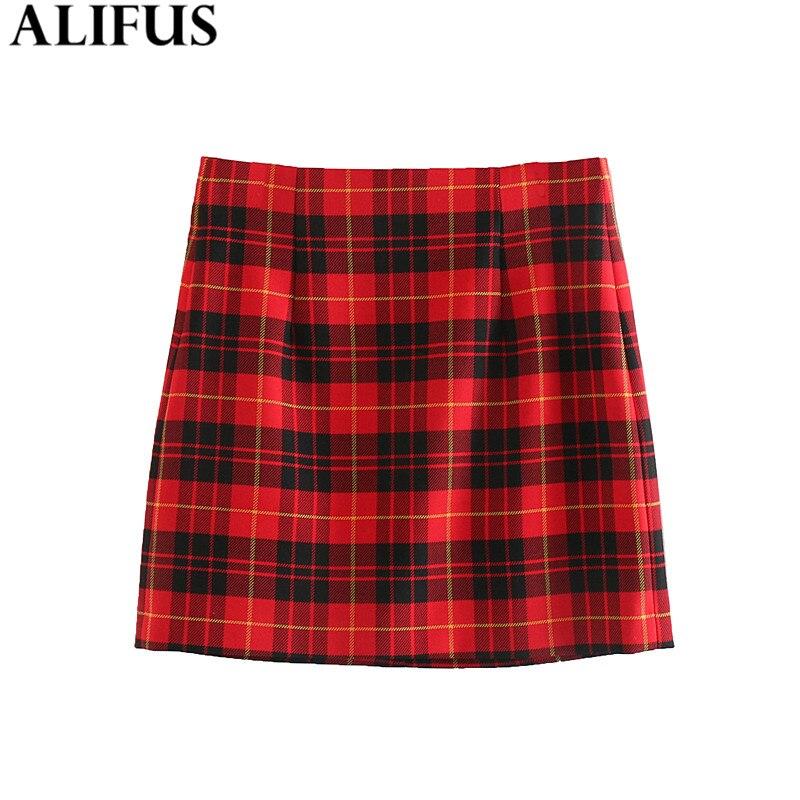 Fashion Za Women Skirt 2019 Elegant Red Plaid Mini Skirts Back Zipper Checkered Casual High Waist A-Line Female Ladies