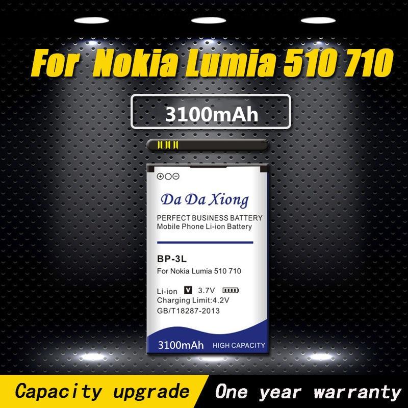 Alta calidad 3100mAh BP3L BP-3L batería para Nokia Lumia 710, 510 de 603 610C 900, 303, 603, 610, 3030, 505 de la batería del teléfono
